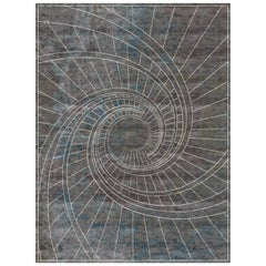 Firenze Blu Notte Hand-Knotted Wool and Silk 8 x 10ft Rug