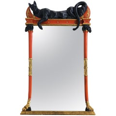 Firenze Italian Polychromed & Parcel Gilt Pier Mirror with Cat Draped Above