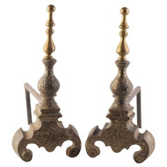 Fireplace Bronze Andirons with Pinnacle