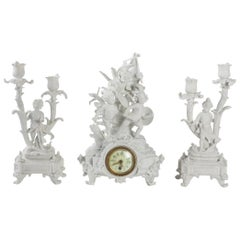 Fireplace Clock in Sèvres Biscuit, 19th Century