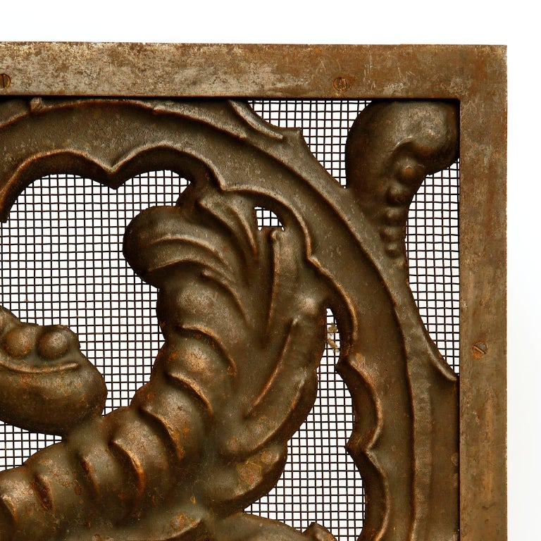 Fireplace Doors Fire Screen Guard, Metal Copper Brass, Austria, Jugendstil, 1900 For Sale 4