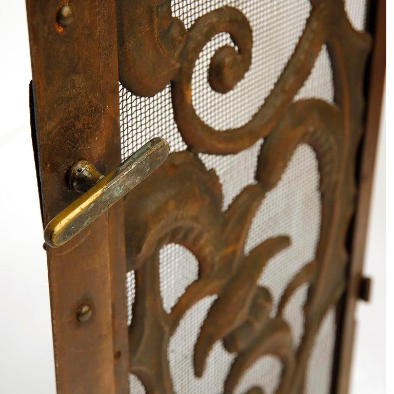 Fireplace Doors Fire Screen Guard, Metal Copper Brass, Austria, Jugendstil, 1900 For Sale 5