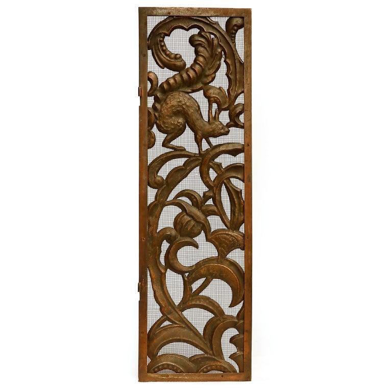 Austrian Fireplace Doors Fire Screen Guard, Metal Copper Brass, Austria, Jugendstil, 1900 For Sale