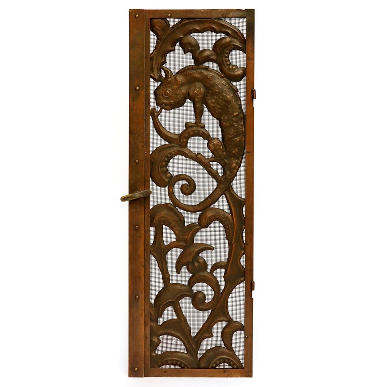Fireplace Doors Fire Screen Guard, Metal Copper Brass, Austria, Jugendstil, 1900 In Good Condition For Sale In Vienna, AT