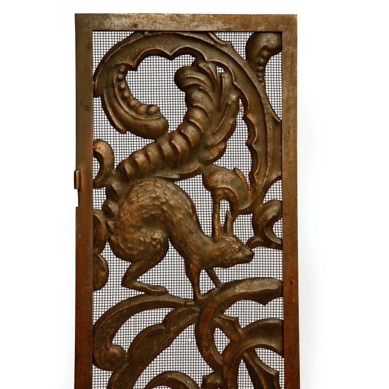 Early 20th Century Fireplace Doors Fire Screen Guard, Metal Copper Brass, Austria, Jugendstil, 1900 For Sale