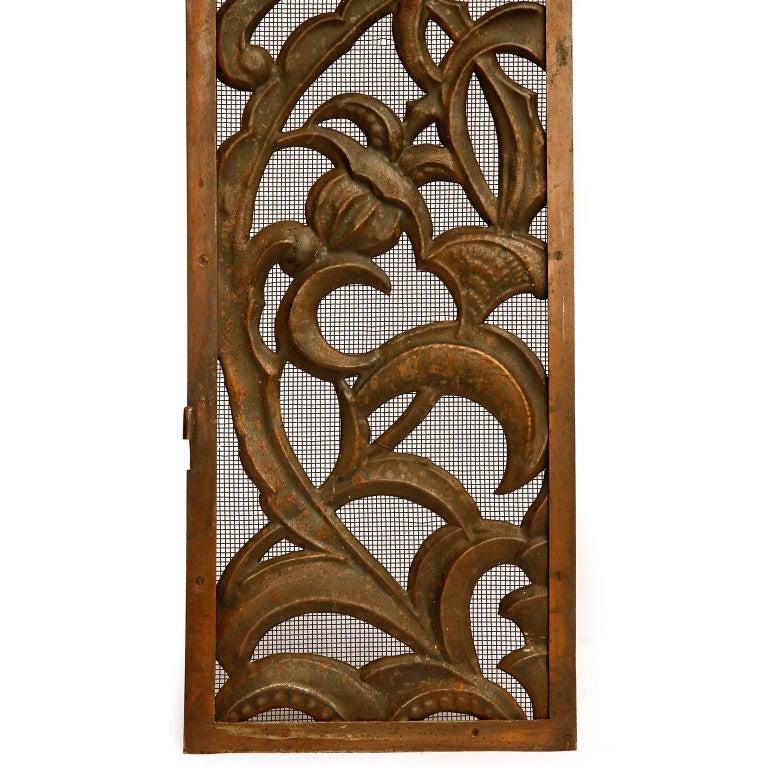 Iron Fireplace Doors Fire Screen Guard, Metal Copper Brass, Austria, Jugendstil, 1900 For Sale
