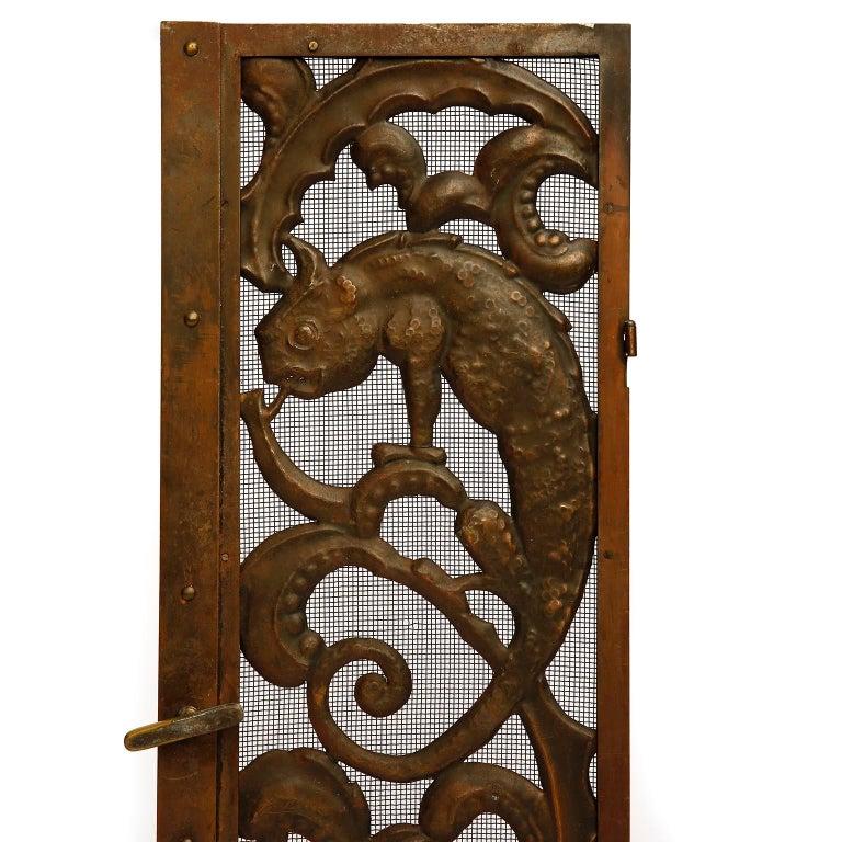 Fireplace Doors Fire Screen Guard, Metal Copper Brass, Austria, Jugendstil, 1900 For Sale 1