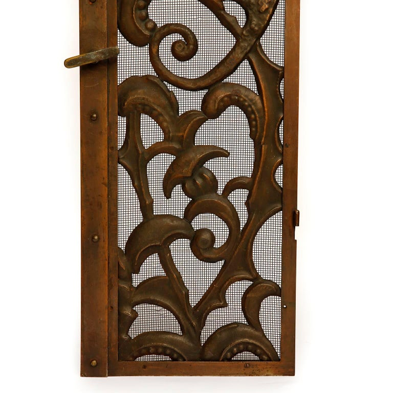 Fireplace Doors Fire Screen Guard, Metal Copper Brass, Austria, Jugendstil, 1900 For Sale 2