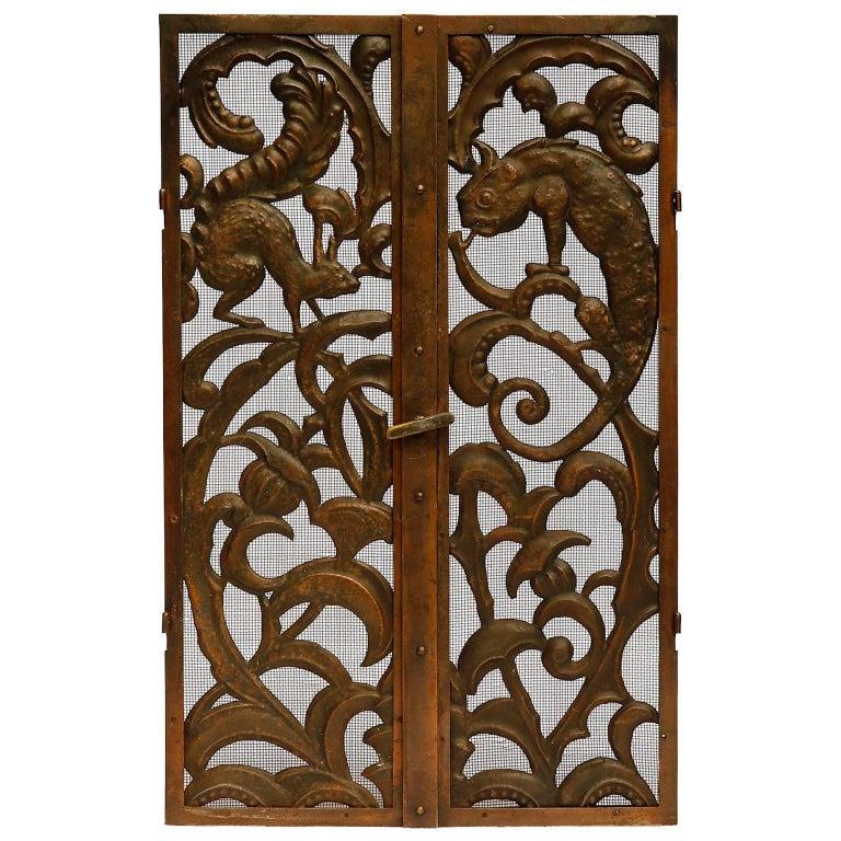 Fireplace Doors Fire Screen Guard, Metal Copper Brass, Austria, Jugendstil, 1900 For Sale