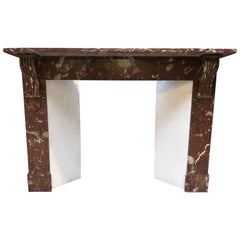 Fireplace in Dark Brown-Red Marble, Belle Epoque