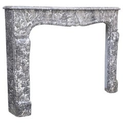 Fireplace Louis XV in Saint-Anne Grey Marble, 18th Century