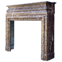 Fireplace Louis XVI Style in Brown Marble