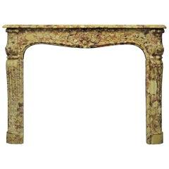 Amazing Breche D' Allepe Marble Fireplace Mantel, Louis XV-XVI Style
