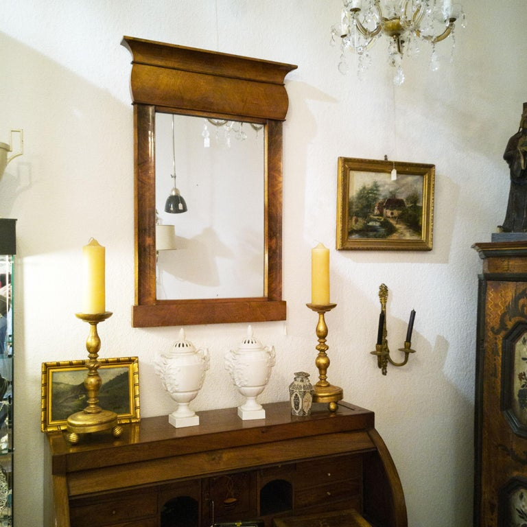Fireplace Mirror circa 1840 Walnut Burl Wood Shellac Biedermeier / Regency For Sale 8