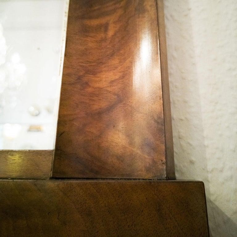 Fireplace Mirror circa 1840 Walnut Burl Wood Shellac Biedermeier / Regency For Sale 1