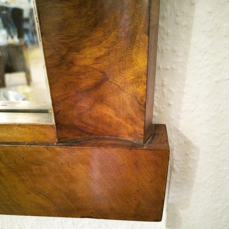 Fireplace Mirror circa 1840 Walnut Burl Wood Shellac Biedermeier / Regency For Sale 2