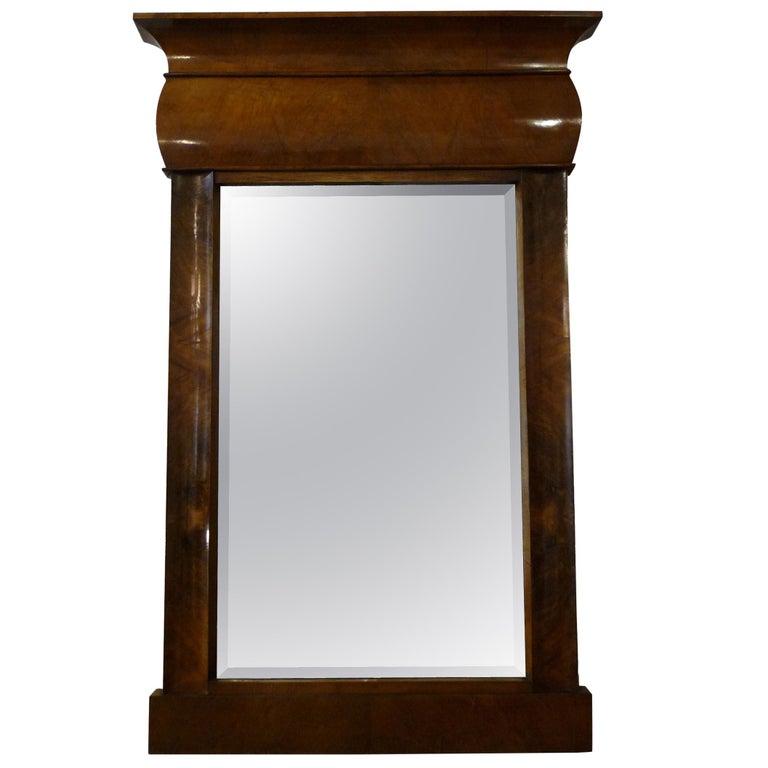 Fireplace Mirror circa 1840 Walnut Burl Wood Shellac Biedermeier / Regency For Sale