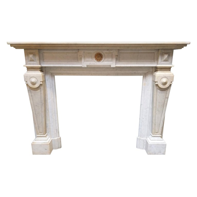 Napoleon III Carrara marble fireplace, ca. 1875, offered by Status Aparte