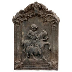 Fireplace Plate with Picador, Bullfighting, Cast Iron, Spain, 20th Century