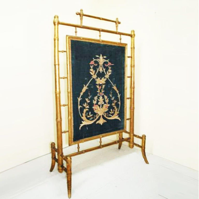 Fireplace Screen Wooden Gilded Faux Bamboo, Chinoiserie, England, 19th Century For Sale 3