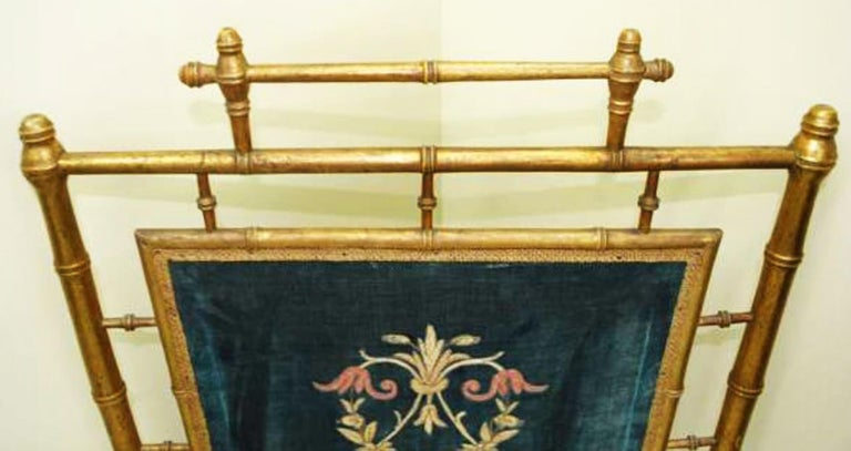 Chinese Chippendale Fireplace Screen Wooden Gilded Faux Bamboo, Chinoiserie, England, 19th Century For Sale