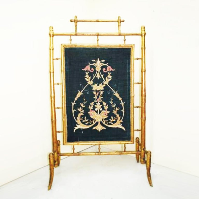 English Fireplace Screen Wooden Gilded Faux Bamboo, Chinoiserie, England, 19th Century For Sale