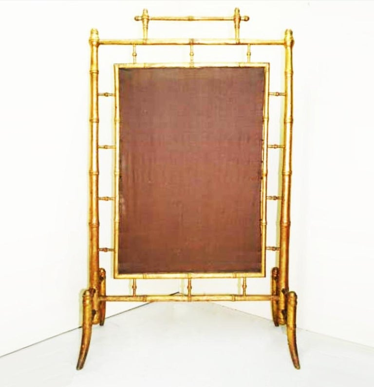 Carved Fireplace Screen Wooden Gilded Faux Bamboo, Chinoiserie, England, 19th Century For Sale