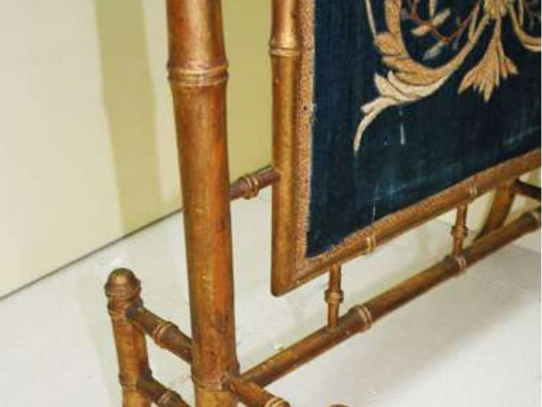 Fireplace Screen Wooden Gilded Faux Bamboo, Chinoiserie, England, 19th Century In Good Condition For Sale In Mombuey, Zamora