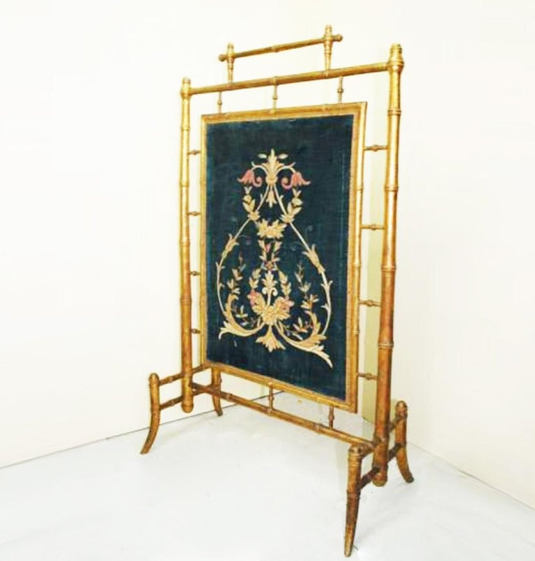 Velvet Fireplace Screen Wooden Gilded Faux Bamboo, Chinoiserie, England, 19th Century For Sale