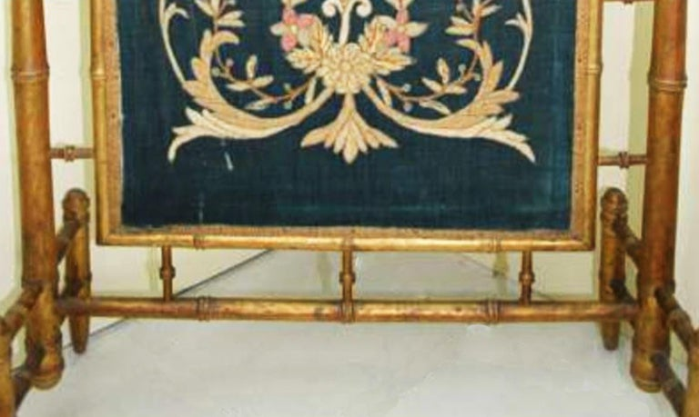 Fireplace Screen Wooden Gilded Faux Bamboo, Chinoiserie, England, 19th Century For Sale 1