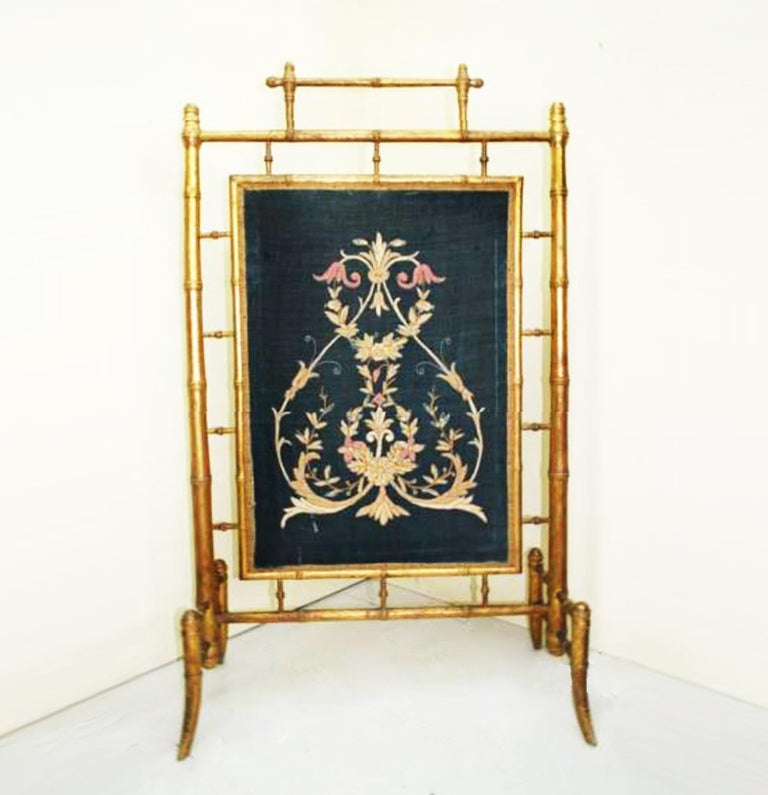 Fireplace Screen Wooden Gilded Faux Bamboo, Chinoiserie, England, 19th Century For Sale 2