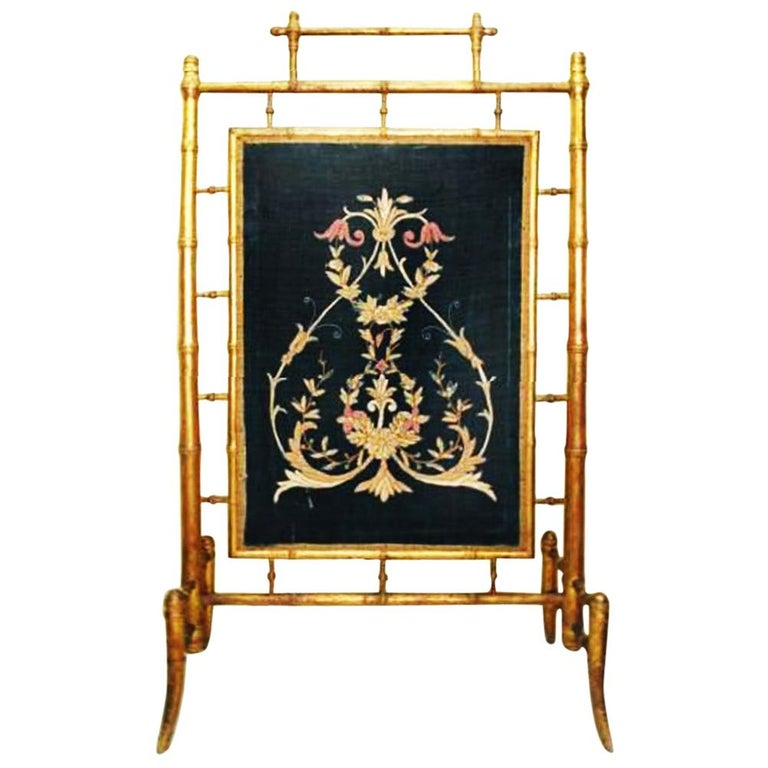 Fireplace Screen Wooden Gilded Faux Bamboo, Chinoiserie, England, 19th Century For Sale