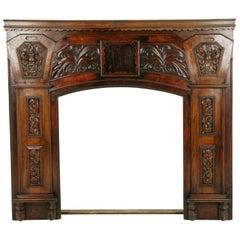 Fireplace Surround, Fireplace Mantle, Carved Walnut Mantle, Scotland 1920