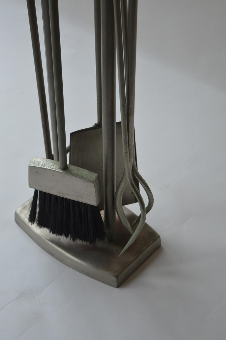 Plated Fireplace Tool Set For Sale