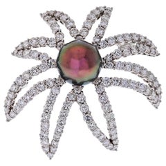 Firework Platinum Diamond and Pearl Pin Brooch