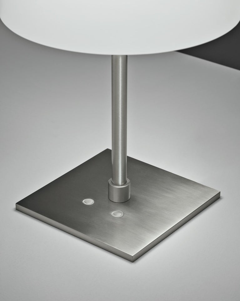 A lighting system including table, floor and suspension versions, all characterized by the same hand blown, etched frosted glass. A varnished metal belt supports the double LED, allowing two different switches and three lighting alternatives: to the