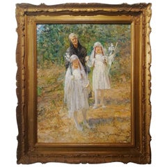 First Communion, L. Postiglione Oil 19th Century Children Italian Painting