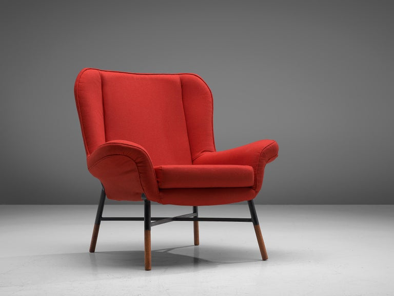 Studio BBPR for Arflex, 'Giulietta' lounge chair, red fabric, lacquered metal, wood, Italy, 1958  Begiojoso, Peressutti and Rogers of the B.B.P.R. design group designed this armchair named 'Giulietta' in 1958. The sculpted seat contains a high back