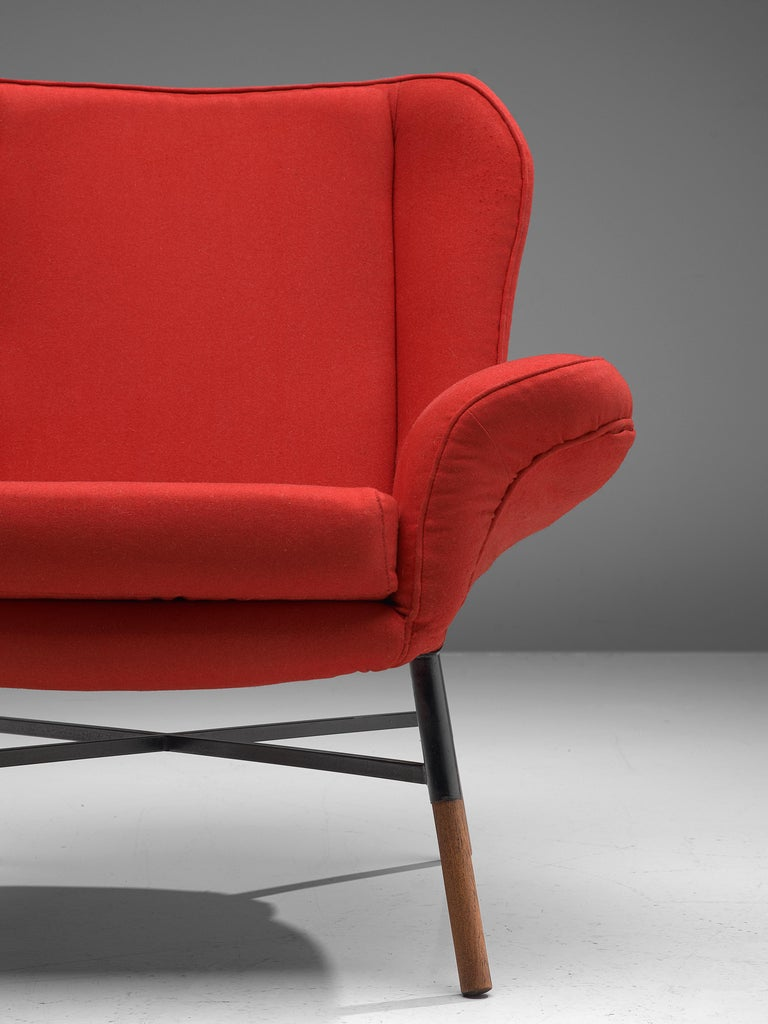 Mid-Century Modern First Edition BBPR 'Giulietta' Lounge Chair in Red Upholstery For Sale