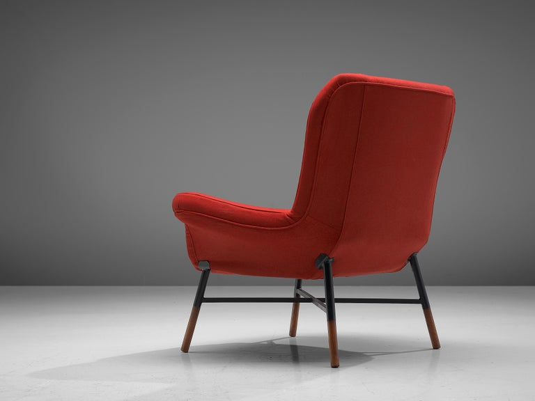 Italian First Edition BBPR 'Giulietta' Lounge Chair in Red Upholstery For Sale