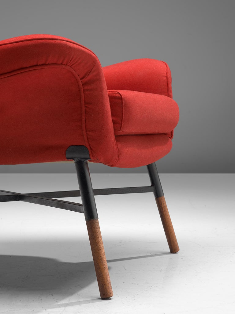 First Edition BBPR 'Giulietta' Lounge Chair in Red Upholstery In Good Condition For Sale In Waalwijk, NL