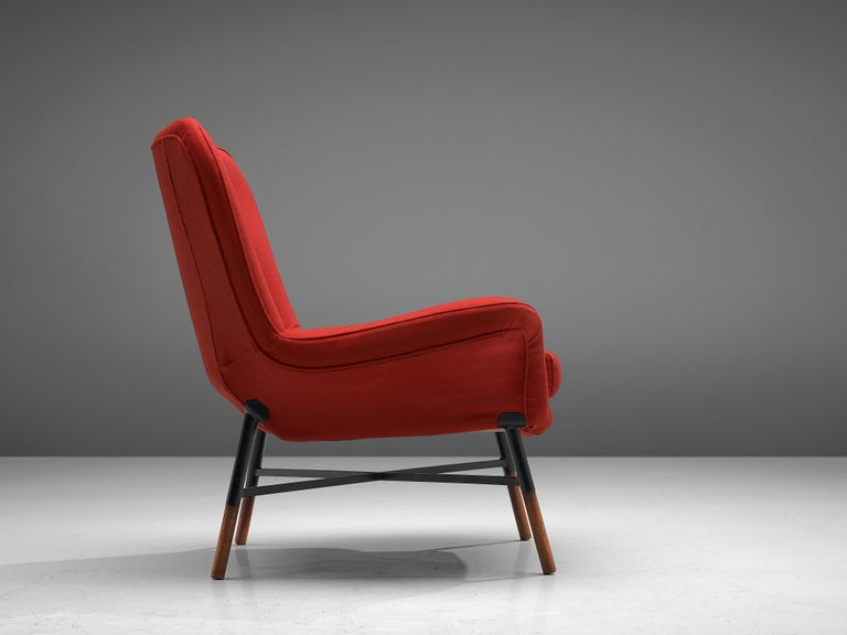 Mid-20th Century First Edition BBPR 'Giulietta' Lounge Chair in Red Upholstery For Sale