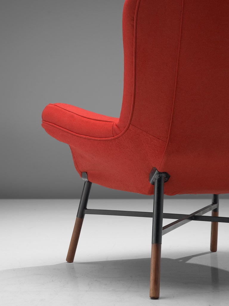 Metal First Edition BBPR 'Giulietta' Lounge Chair in Red Upholstery For Sale