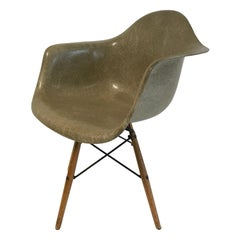 "First Edition Charles Eames ""Paw Chair"" Swivel Fibre Glass Shell Dowel Leg Birch"