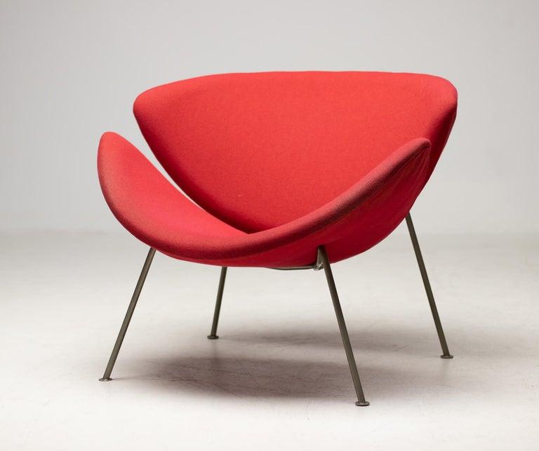 Mid-Century Modern First Edition Zinc Frame Orange Slice Chair by Pierre Paulin For Sale