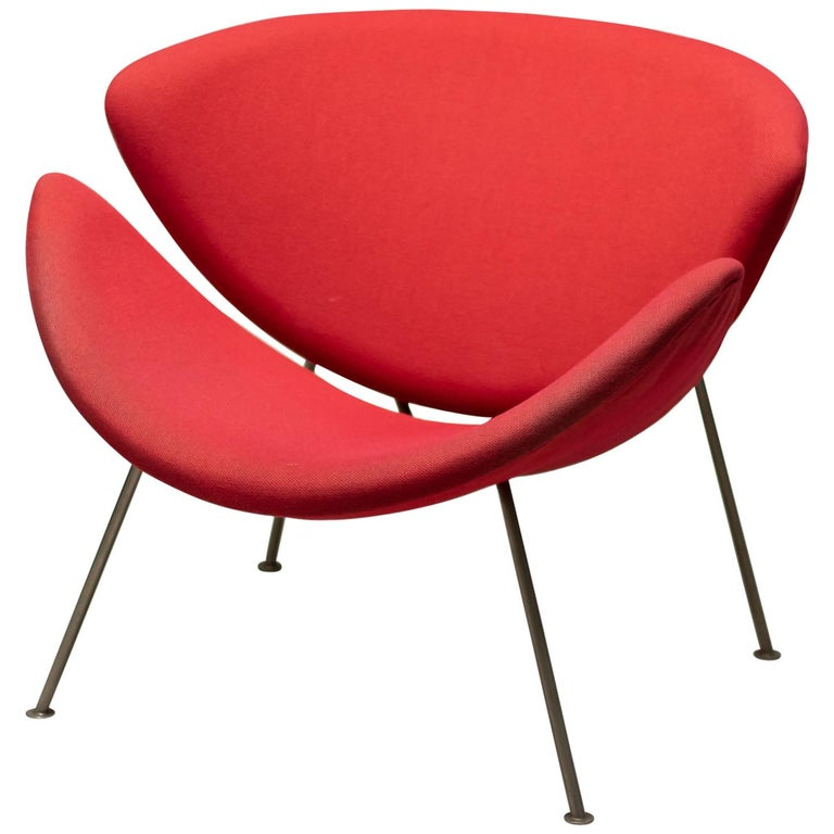 First Edition Zinc Frame Orange Slice Chair by Pierre Paulin For Sale