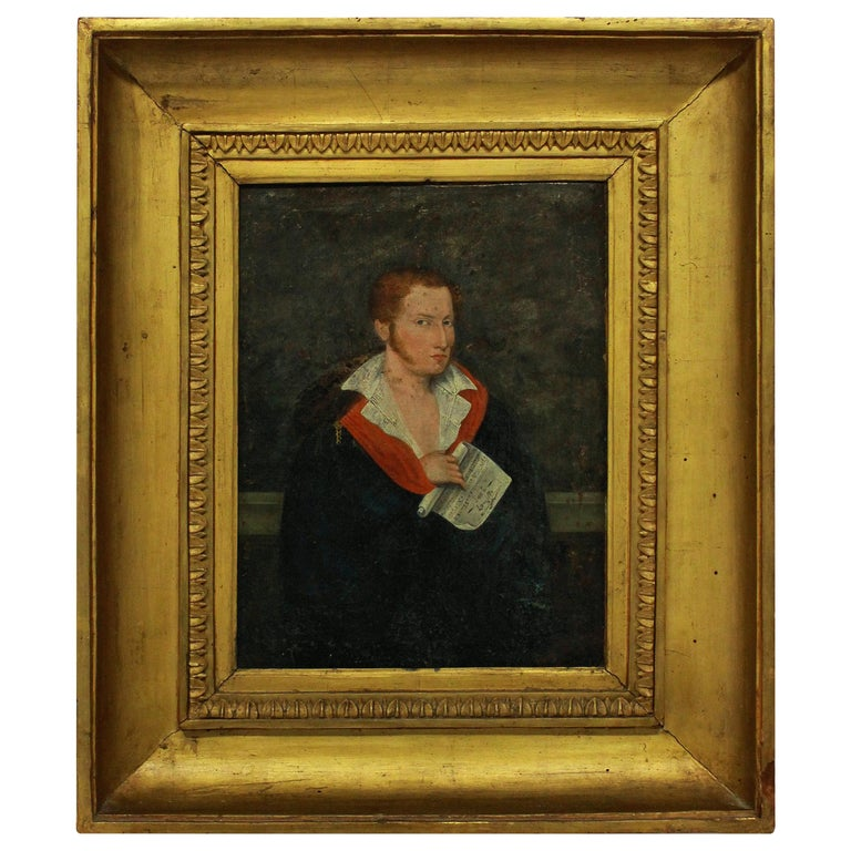 First Empire Oil of a Red Haired Young Man For Sale