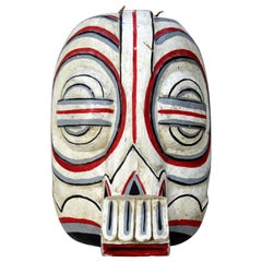 First Nation TOTEM Style Painted Wood Mask Wall Sculpture Tribal
