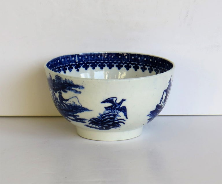 First Period Dr. Wall Worcester porcelain Blue Bowl in Fisherman Ptn, Circa 1775 For Sale 2