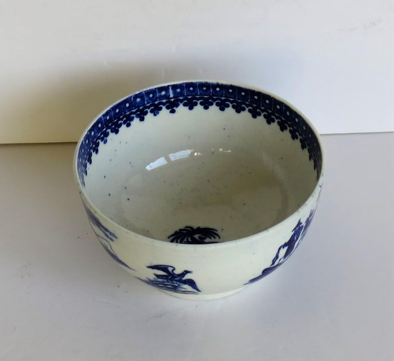 First Period Dr. Wall Worcester porcelain Blue Bowl in Fisherman Ptn, Circa 1775 For Sale 4